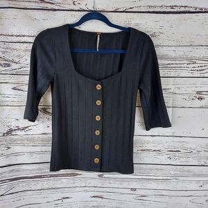 Free People black central park blouse size medium